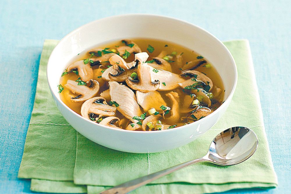 Receta de sopa de pollo y champiñones
