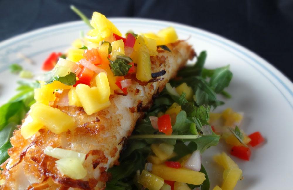 Receta defilete de tilapia a la plancha con salsa fresca de mango